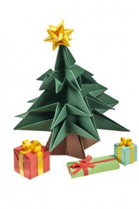 Origami Christmas tree and gifts