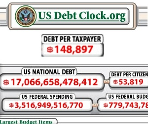 Picture of debt clock from US Debt Clock dot org.