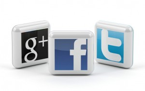 social media buttons - Facebook, Twitter, and Google +