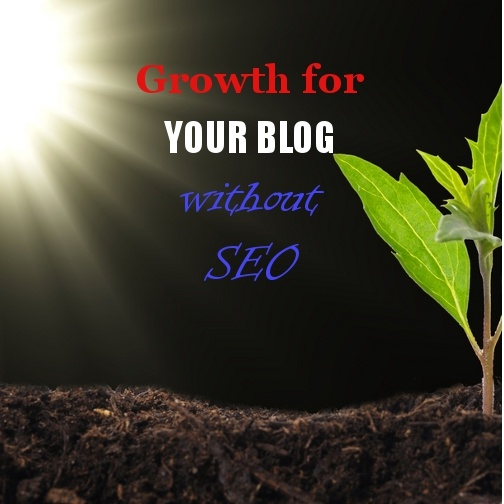 Picture of plant growing with sunlight and text growth for your blog without SEO.