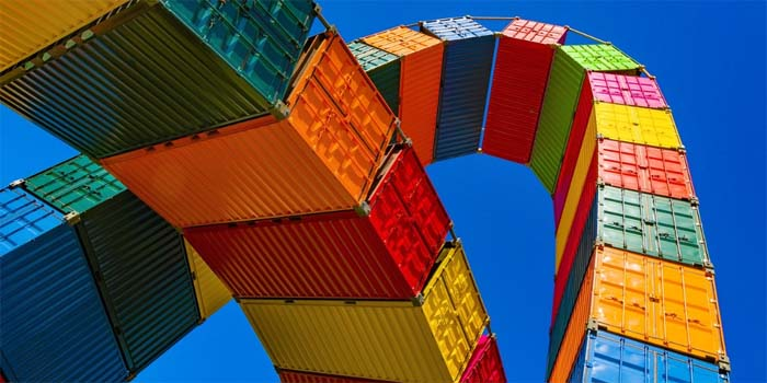 colorful and creative display of containers