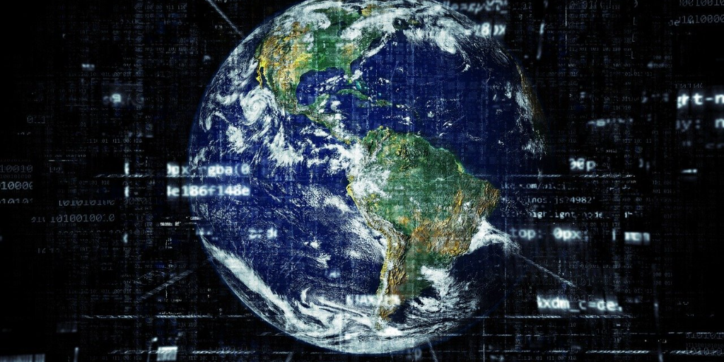 image of earth with digital elements